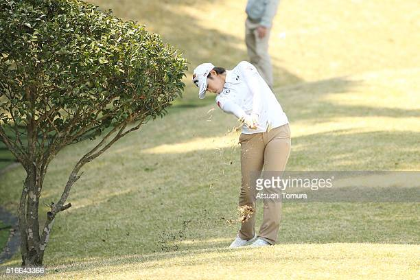 Asuka Kashiwabara of Japan hits her third shot on the 16th hole during the T-Point Ladies Golf Tournament at the Wakagi Golf Club on March 20, 2016...