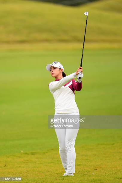 Asuka Kashiwabara of Japan hits her third shot on the 1st hole during the final round of Fujitsu Ladies at Tokyu Seven Hundred Club on October 20...