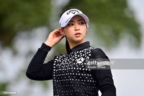 Asuka Kashiwabara of Japan is seen on the 15th tee during the first round of the Fujitsu Ladies 2020 at the Tokyu Seven Hundred Club on October 16...
