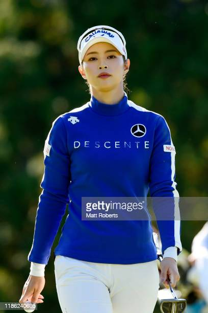 Asuka Kashiwabara of Japan is seen on the 8th green during the first round of the TOTO Japan Classic at Seta Golf Course North Course on November 8...