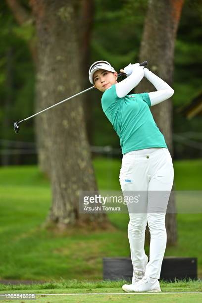 Asuka Kashiwabara of Japan plays a shot on the 12th hole during a practice round ahead of the NEC Karuizawa 72 Golf Tournament at the Karuizawa 72...