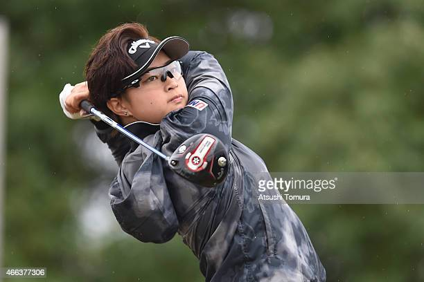 Asuka Kashiwabara of Japan plays her tee shot on the first hole during the final round of the Yokohama Tyre PRGR Ladies Cup at the Tosa Country Club...
