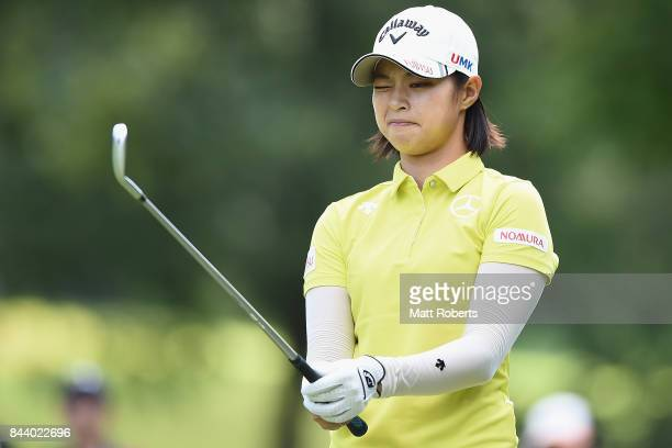 Asuka Kashiwabara of Japan prepares for her tee shot on the 4th hole during the second round of the 50th LPGA Championship Konica Minolta Cup 2017 at...