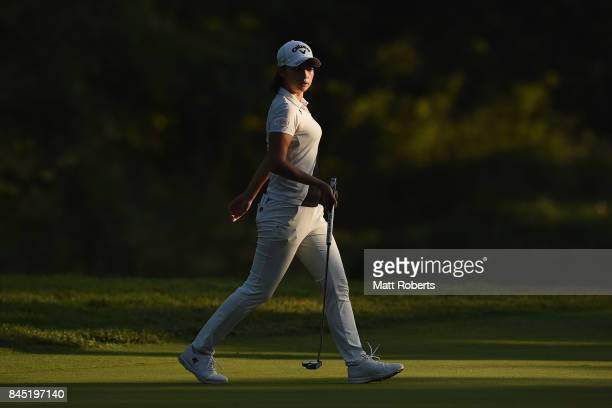 Asuka Kashiwabara of Japan prepares to putt on the 17th green during the final round of the 50th LPGA Championship Konica Minolta Cup 2017 at the...