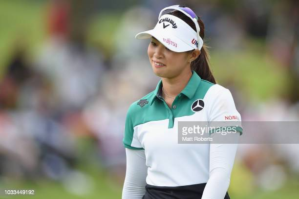 Asuka Kashiwabara of Japan reacts after her putt on the 18th green during the second round of the Munsingwear Ladies Tokai Classic at Shin Minami...