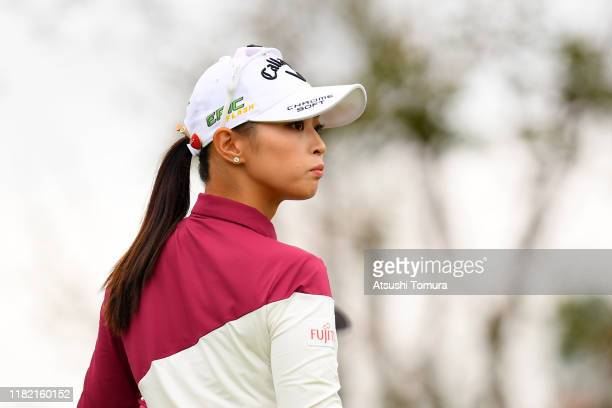 Asuka Kashiwabara of Japan reacts after her tee shot on the 1st hole during the final round of Fujitsu Ladies at Tokyu Seven Hundred Club on October...