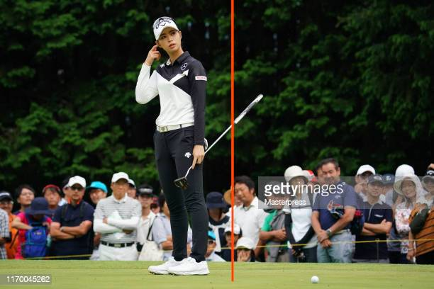 Asuka Kashiwabara of Japan reacts missing the birdie putt on the 15th green during the final round of the CAT Ladies 2019 at Daihakone Country Club...
