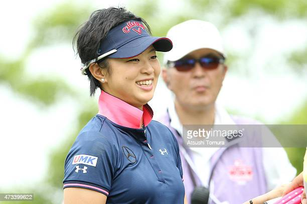 Asuka Kashiwabara of Japan smiles during the first round of the HokennoMadoguchi Ladies at the Fukuoka Country Club Ishino Course on May 15 2015 in...