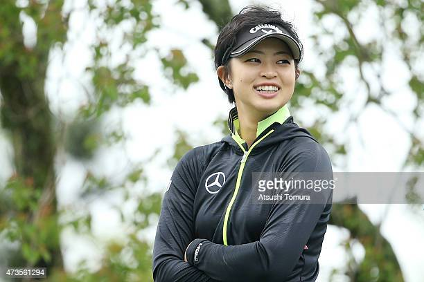 Asuka Kashiwabara of Japan smiles during the second round of the HokennoMadoguchi Ladies at the Fukuoka Country Club Ishino Course on May 16 2015 in...