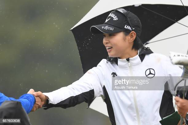 Asuka Kashiwabara of Japan smiles during the second round of the AXA Ladies Golf Tournament at the UMK Country Club on March 25 2017 in Miyazaki Japan