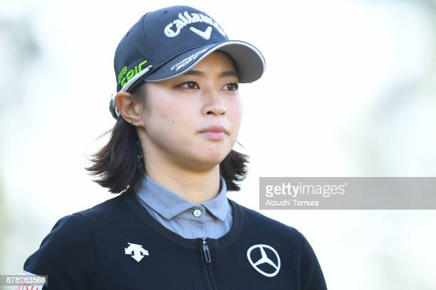 Asuka Kashiwabara of Japan smiles during the second round of the LPGA Tour Championship Ricoh Cup 2017 at the Miyazaki Country Club on November 24...