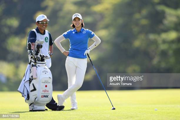 Asuka Kashiwabara of Japan smiles during the third round of the 50th LPGA Championship Konica Minolta Cup 2017 at the Appi Kogen Golf Club on...