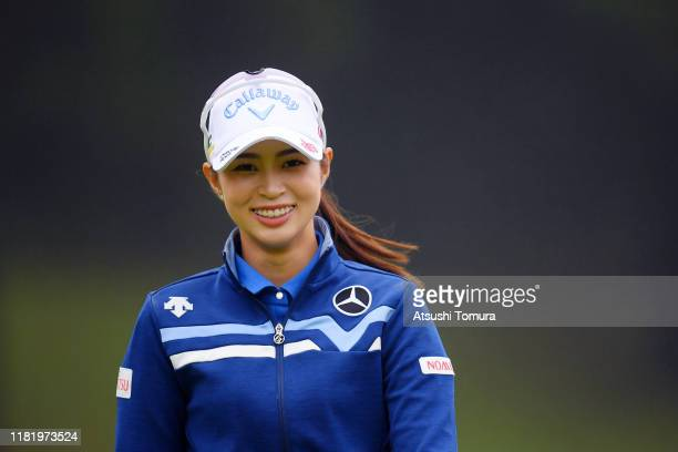 Asuka Kashiwabara of Japan smiles on the 11th green during second round of Fujitsu Ladies at Tokyu Seven Hundred Club on October 19 2019 in Chiba...