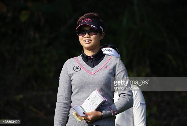 Asuka Kashiwabara of Japan smiles on the 2nd hole during the second round of the Nobuta Group Masters GC Ladies at the Masters Gold Club on October...