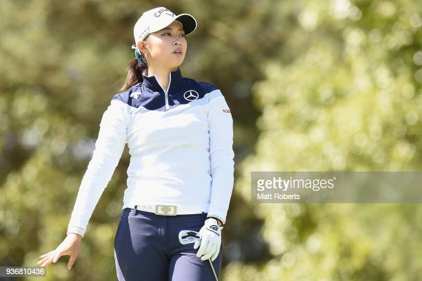 Asuka Kashiwabara of Japan watches her tee shot on the 2nd hole during the first round of the AXA Ladies Golf Tournament In Miyazaki at the UMK...