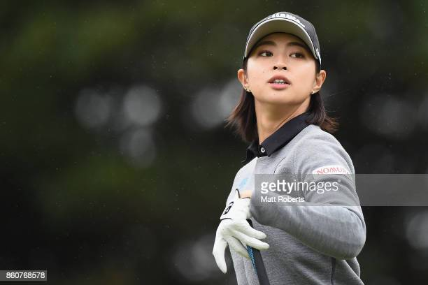 Asuka Kashiwabara of Japan watches her tee shot on the 3rd hole during the first round of the Fujitsu Ladies 2017 at the Tokyu Seven Hundred Club on...