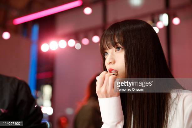 Asuka Saito attends Dior Addict Stellar Shine launch at Hotel Koe on April 2 2019 in Tokyo Japan
