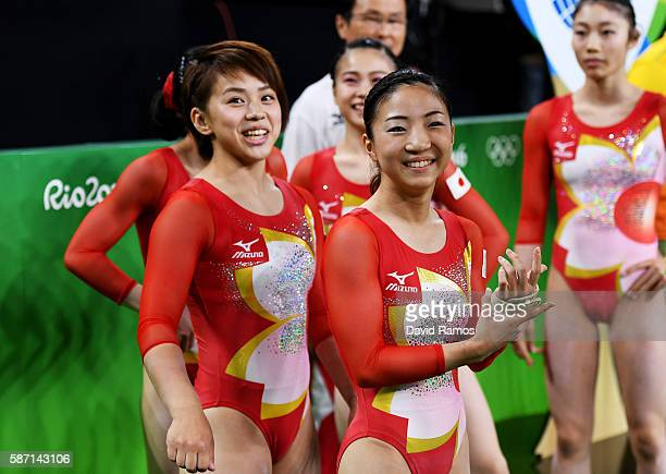 Asuka Teramoto and Mai Murakami of Japan enter the arena before the Women's qualification for Artistic Gymnastics on Day 2 of the Rio 2016 Olympic...