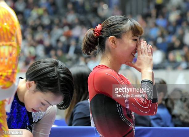 Asuka Teramoto and Mai Murakami pose for photographs after the Women's final on day three of the 73rd All Japan Artistic Gymnastics Individual...