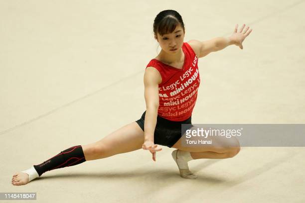 Asuka Teramoto attends a practice session on day two of the 73rd All Japan Artistic Gymnastics Individual AllAround Championships at Takasaki Arena...