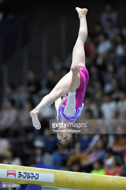 Asuka Teramoto competes in the Balance Beam during day one the All Japan Artistic Gymnastics Apparatus Championships at Takasaki Arena on June 24...