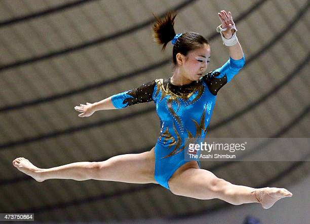 Asuka Teramoto competes in the balance beam of the Women's all Around during the NHK Trophy Artistic Gymnastics Championship at National Yoyogi...