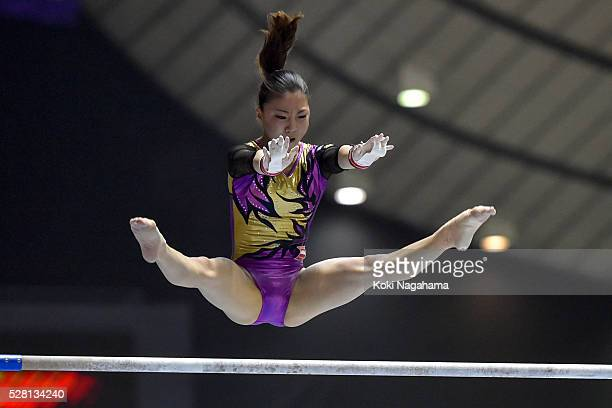 Asuka Teramoto competes in the Uneven Parallel Bars during the Artistic Gymnastics NHK Trophy at Yoyogi National Gymnasium on May 4 2016 in Tokyo...
