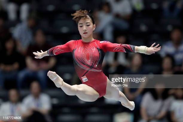 Asuka Teramoto competes in the Women's Balance Beam final on day two of the 73rd All Japan Artistic Gymnastics Apparatus Championships at Takasaki...