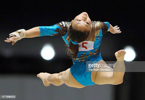 Asuka Teramoto competes in the Women's Floor during day one of the All Japan Artistic Gymnastics Apparatus Championships at Yoyogi National Gymnasium...