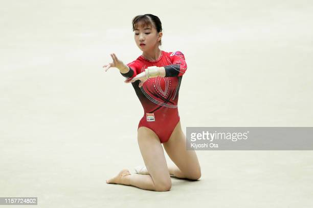Asuka Teramoto competes in the Women's Floor Exercise final on day two of the 73rd All Japan Artistic Gymnastics Apparatus Championships at Takasaki...
