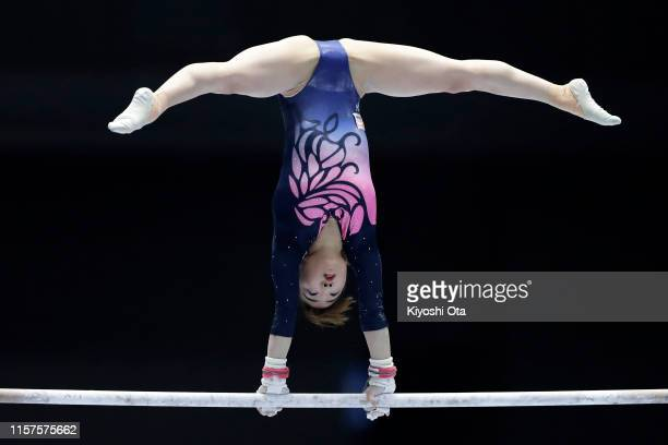 Asuka Teramoto competes in the Women's Uneven Bars qualifying round on day one of the 73rd All Japan Artistic Gymnastics Apparatus Championships at...