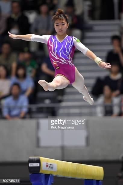 Asuka Teramoto competes on the balance beam during Japan National Gymnastics Apparatus Championships at the Takasaki Arena on June 25 2017 in...