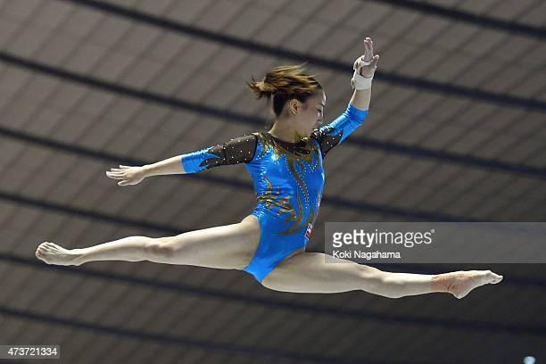 Asuka Teramoto competes on the Balance Beam during the Artistic Gymnastics NHK Trophy at Yoyogi National Gymnasium on May 17 2015 in Tokyo Japan