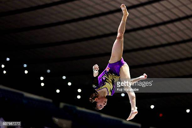 Asuka Teramoto competes on the pommel horse during the AllJapan Gymnastic Appratus Championshipsat Yoyogi National Gymnasium on June 4 2016 in Tokyo...