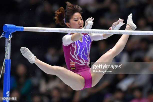 Asuka Teramoto competes on the Uneven bar during Japan National Gymnastics Apparatus Championships at the Takasaki Arena on June 25 2017 in Takasaki...