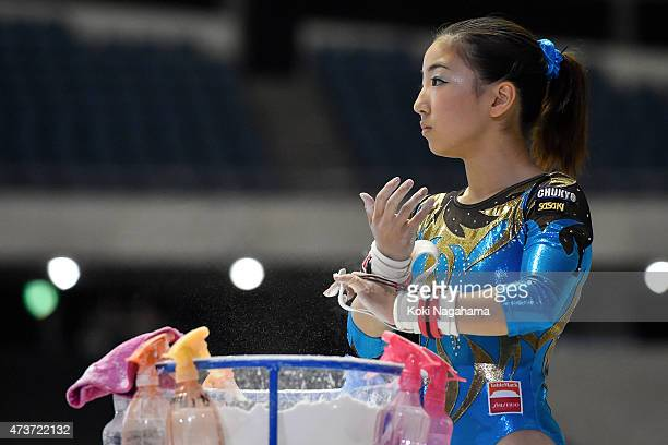 Asuka Teramoto competes on the Uneven Bars during the Artistic Gymnastics NHK Trophy at Yoyogi National Gymnasium on May 17 2015 in Tokyo Japan