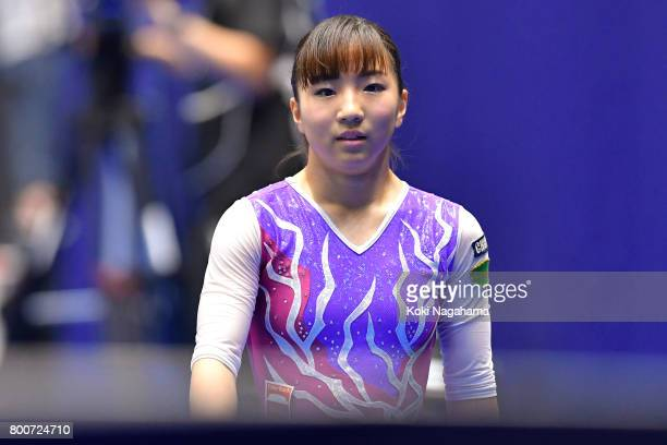 Asuka Teramoto looks on after competing on the balance beam during Japan National Gymnastics Apparatus Championships at the Takasaki Arena on June 25...