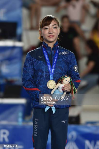Asuka Teramoto of Japan bronze medal at Uneven bars podium on July 07 2019 in Naples Italy