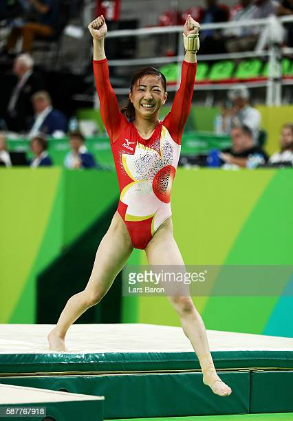 Asuka Teramoto of Japan celebrates after competing on the balance beam during the Artistic Gymnastics Women's Team Final on Day 4 of the Rio 2016...
