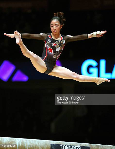 Asuka Teramoto of Japan competes in the Balance Beam of the Women's Individual AllAround final during day seven of the 2015 World Artistic Gymnastics...