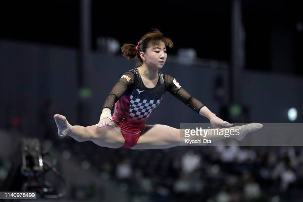 Asuka Teramoto of Japan competes in the Women's Balance Beam during the FIG Artistic Gymnastics AllAround World Cup Tokyo at Musashino Forest Sport...