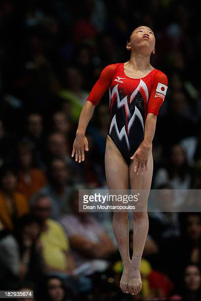 Asuka Teramoto of Japan competes in the Womens Vault Qualification on Day Three of the Artistic Gymnastics World Championships Belgium 2013 held at...