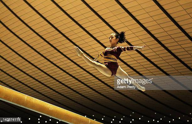 Asuka Teramoto of Japan competes on the Balance Beam during day two of the 66th All Japan Artistic Gymnastics All Around Championships at Yoyogi...
