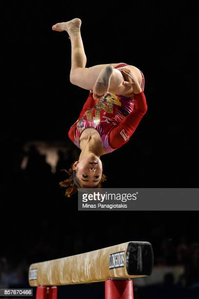 Asuka Teramoto of Japan competes on the balance beam during the qualification round of the Artistic Gymnastics World Championships on October 4 2017...