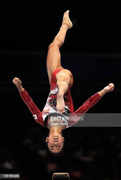 Asuka Teramoto of Japan competes on the Beam aparatus in the Women's qualification during day two of the Artistic Gymnastics World Championships...