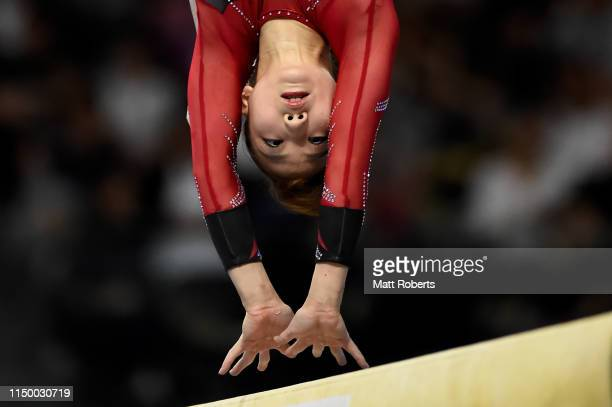 Asuka Teramoto of Japan competes on the Beam during day one of the Artistic Gymnastics NHK Trophy at Musashino Forest Sport Plaza on May 18 2019 in...