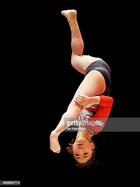 Asuka Teramoto of Japan competes on the Beam during Day One of the 2015 World Artistic Gymnastics Championships at The SSE Hydro on October 23 2015...