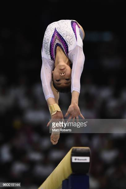 Asuka Teramoto of Japan competes on the Beam during day one of the 57th Artistic Gymnastics NHK Trophy at the Tokyo Metropolitan Gymnasium on May 19...