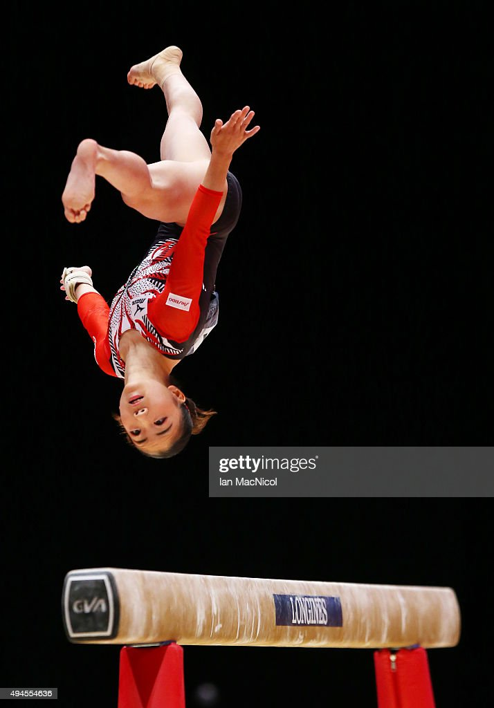 Asuka Teramoto of Japan competes on the Floor during day five of World Artistic Gymnastics Championship at The SSE Hydro on October 27, 2015 in Glasgow, Scotland.