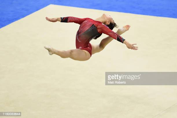 Asuka Teramoto of Japan competes on the Floor during day one of the Artistic Gymnastics NHK Trophy at Musashino Forest Sport Plaza on May 18 2019 in...